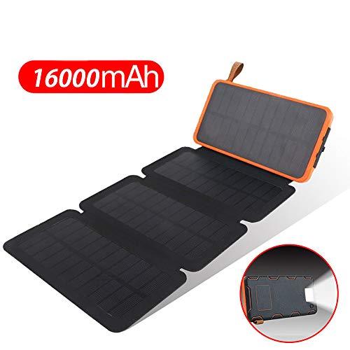 Ygrsj energia mobile solare, pieghevole portatile 16000mah, porta usb 2 impermeabile ip65, luce da campeggio a led sos per aiuto, adatto per campeggio, interruzione di corrente, ecc.