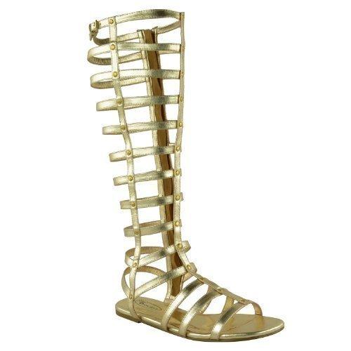 WOMENS DAMEN AUSGESCHNITTEN GLADIATOR SANDALEN FLACHES KNIE STIEFEL RIEMCHEN GRÖßE - Gold Kunstleder, (Kostüme Sandalen Gladiator)
