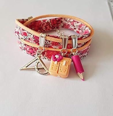 bracelet maitresse,cadeau maitresse,cadeau ecole,rose fuchsia,orange peche,bracelet liberty,cartable,argent,cadeau original