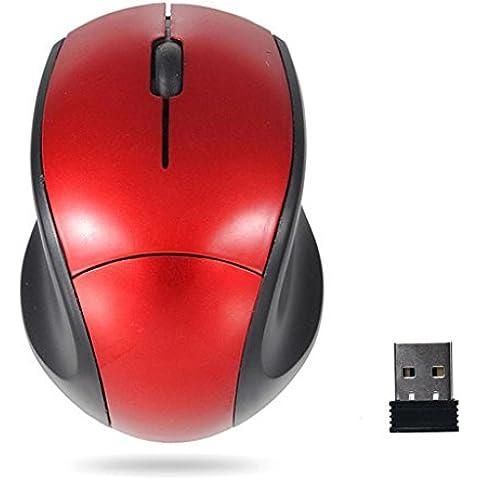 Internet Receptor USB de 2.4GHz ratón óptico del ratón sin hilos sin cuerda del ordenador PC para el ordenador portátil (rojo)