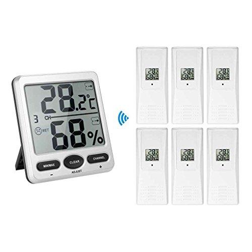 Minzhi 1 bis 6 Thermometer Remotes Sensor Emitter Wireless Digital Thermo-Hygrometer Konsole Receiver 10% bis 99% Luftfeuchtigkeit im