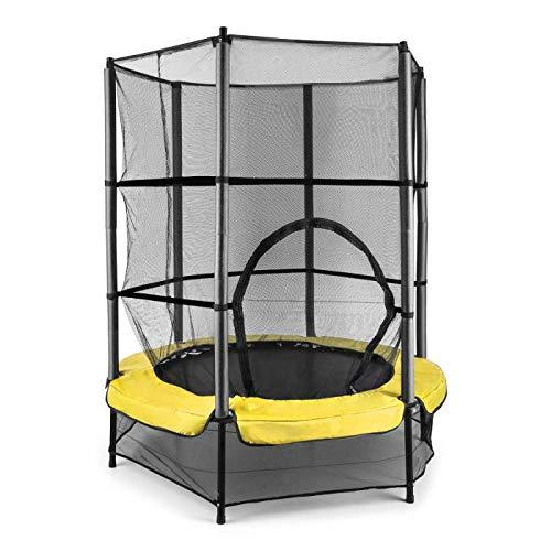 Klarfit Rocketkid–Trampolín con superficie de salto de 140cm y red de seguridad (soporta hasta 50kg, a partir de 3años), amarillo
