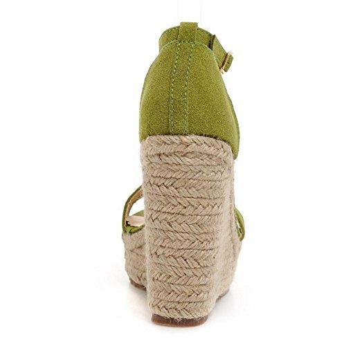 COOLCEPT Femmes Ete Cool Confortable Single de Cheville Talon Compenses Sandales Vert