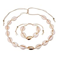 Valyria Cowrie Shell Choker Necklace Seashell Strand Bracelets Summer Hawaiian Jewelry Set for Women