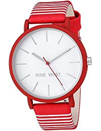 Nine West Women's Quartz Metal and Polyurethane Dress Watch, Color Red (Model: NW/2161WTRD)