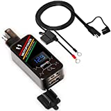 MOTOPOWER MP0620A - Kit caricabatterie doppio USB per moto, 4,2 A, adattatore SAE a USB con display a LED