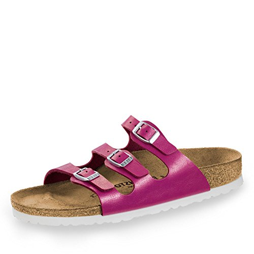 BIRKENSTOCK 1008855 Florida Damen Pantolette aus Edlem Birko-Flor Lederfußbett, Groesse 39, Pink