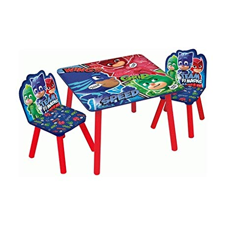 PJ Masks Wooden Table and Chairs Set Table 50x50x43cm, Chair 27x27x48cm Sets De Table