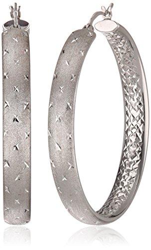 Amazon Sterling Silver 45mm Diamond Cut Hoop Earrings