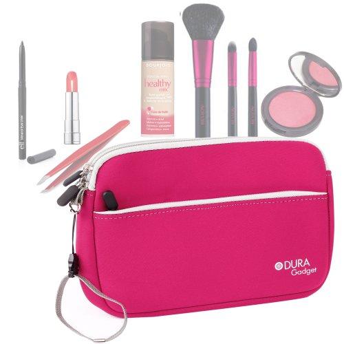 Trousse de maquillage/toilette en rose avec compartiment zippé pour transporter pinceaux, rouge à lèvres et fond de teint - résistante et lavable