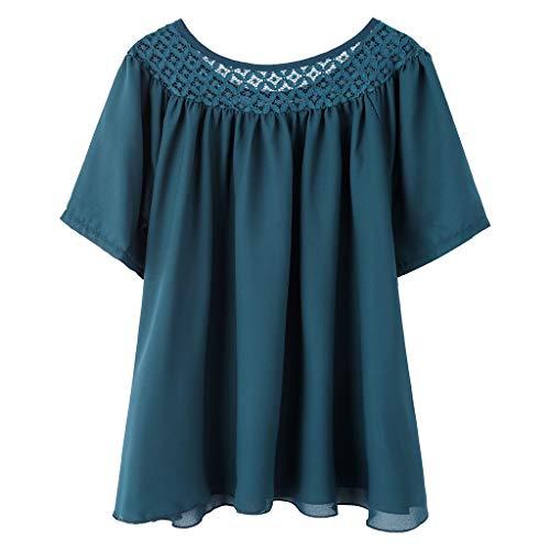 CAOQAO Mode Damen Kurz Ärmel Spitze Patchwork Sommer T-Stück Lässig Bluse ()