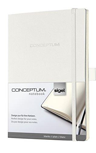 Sigel CO223 Notizbuch, ca. A5, blanko, Softcover, weiß, CONCEPTUM - weitere Farben auswählbar (Perforierte Linie Papier)
