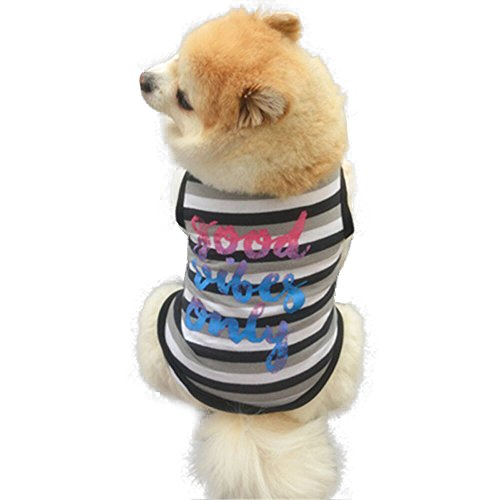 ♥ Loveso ♥ -Huastier Hunde 2017 Sommer Nettes Haustier Welpen Kleines Hundestrip Muster Kleidung T Shirt Kleid (L, Schwarz) (Mops Kostüme 2017)