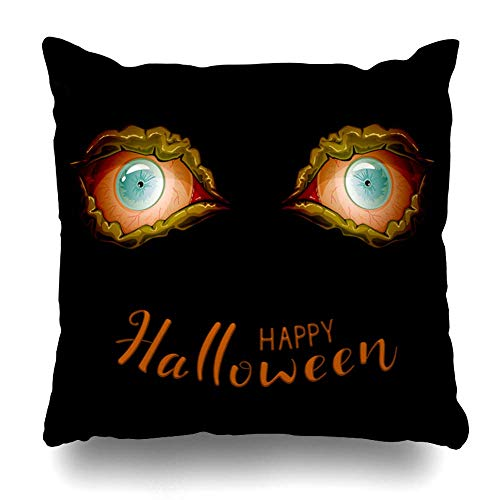 Dekorative Kissen Fall Kissenbezüge für Couch/Bett 18 x 18 Zoll, Halloween schwarz glücklich abstrakt Tag Cartoon Dark Eye Home Sofa Kissenbezug Kissenbezug Geschenk Bett Auto Living Home