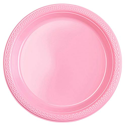 Amscan Assiette Plastique 23 cm rose pastel, 7 am552285 - 109