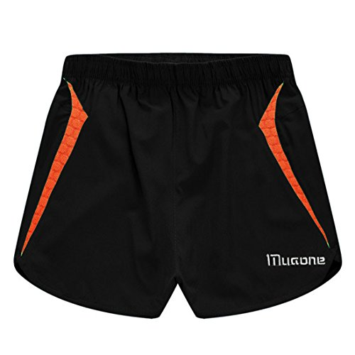 Men's Llightweight Breathable Loose Muaone Casual Shorts Black and Orange