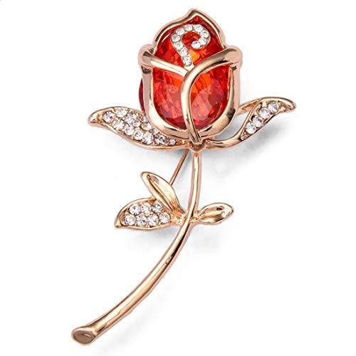 Modolady Rosenbrosche_Ebay Diamant Rose Kristall Brosche Braut Accessoires Boutonniere 6,8 * 4 cm