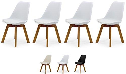 Tenzo Cleo 3340-454 4er-Set Designer Stühle, Holz, Weiss, 82 x 48 x 54 cm (Hxbxt), Kunststoffsitzschale mit Kunstledersitzkissen, Weiss/Eiche, Polypropylen - Stuhl Designer Stoff