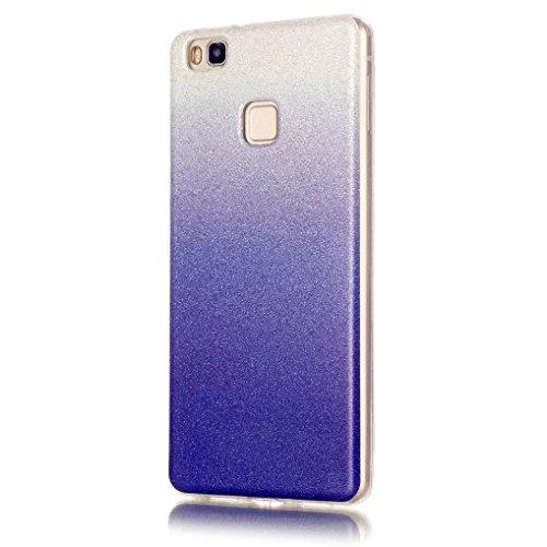 KSHOP Case Cover Stampa Custodia Protettiva per Huawei P9 Lite Shell Carcasa Trasparente Ultra Flessibile Colorato Ammortizzante Shock-Absorption Conchiglia - Bianco Blu