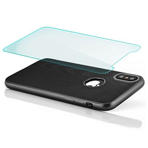 zanasta® iPhone X Hülle + Panzerglas, Premium Schutzhülle Soft Flex Silikon Carbon Case TPU Slim Cover Handyhülle   Metallic Gold Schwarz