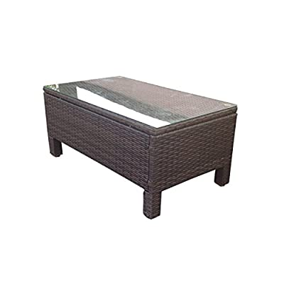 Oseasons® Morocco Rattan Rectangular Coffee Table in Dark Brown - inexpensive UK light shop.