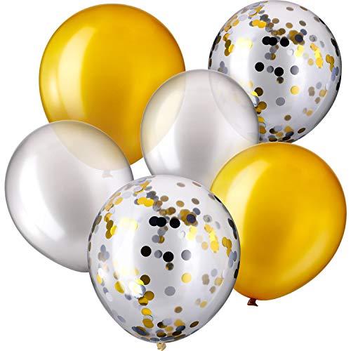 30 Stück 12 Zoll Latex Ballons Konfetti Ballon für Hochzeit Geburtstag Party Dekoration (Silber und Gold)