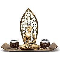 Set de decoración de Buda con 2 portavelas, figura de Buda para meditación, relajación o regalo