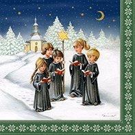 20Servilletas de Navidad 33x 33cm, motivo de niños cantando
