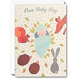 James Ellis Urban Fox Press - Tarjeta de felicitación de nacimiento, diseño de bebé en el bosque
