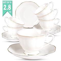 Idea Regalo - Set 6 Vintage Tazzine Caffe e Te - 80ml/2.8oz Bianche New Bone China Sollievo e Bordo Dorato Tazzine da Caffe,Per Moka,Latte,Succhi di Frutta