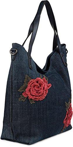 styleBREAKER borsa da shopping in denim con applique di patch con rose, pochette, borsa da spalla, tote bag, donna 02012201, colore:Blu scuro Blu scuro