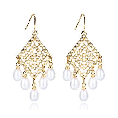 Leviolet Ohrringe/Ohrhänger, hängend, Boho, filigran, mit Perle - Gold Ohrringe Ball Drop