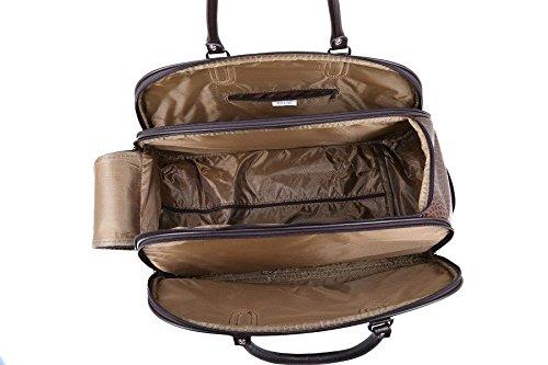 LeahWard® Große Größe Reisetasche Gepäck Reisetasche mit Rad Kabine Hand Taschengage Gym UrlaubWagen Koffer D.Braun Kunstleder Reisetasche