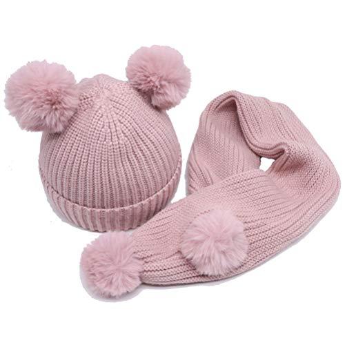 ARAUS Cappuccio + Sciarpa 2 Pezzi Caps Cappello Scialli da Bimbo Bambini  Lavorato a Maglia Invernale f5462c2b04c9