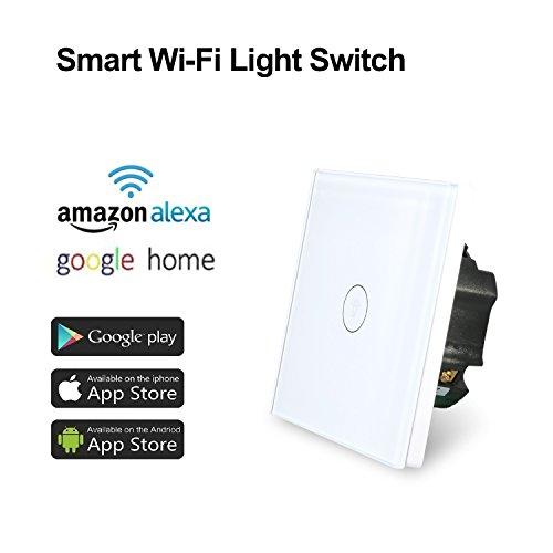 Wi-Fi Interruptor Táctil Inteligente de Luz , Sensor Táctil de una Posición e Interruptor de Luz de control con APP por Teléfono, Funciona con Alexa y Google Home (Blanco)