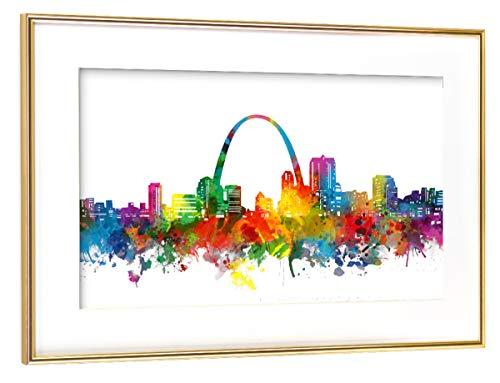 artboxONE Poster mit Rahmen Gold 75x50 cm St Louis Skyline Watercolor von Bekim Mehovic - gerahmtes Poster (St Louis Skyline Poster)