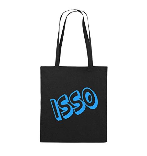 Comedy Bags - ISSO - COMIC SCHIEF - Jutebeutel - lange Henkel - 38x42cm - Farbe: Schwarz / Pink Schwarz / Blau