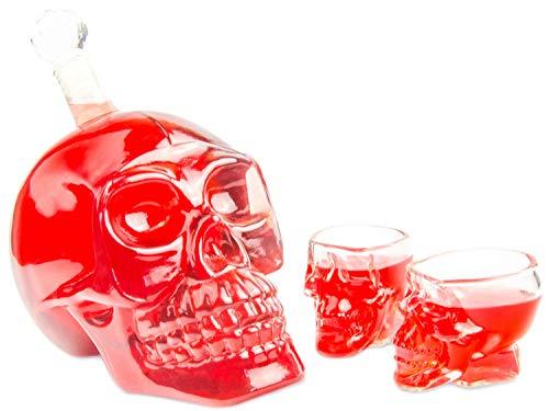 (Skull-Flasche 1000ml mit 2 Totenkopfgläser 60ml, Totenkopfflasche, Vodka, Whiskey, Dekanter, Schnapsglas, Glas, BlueFox)