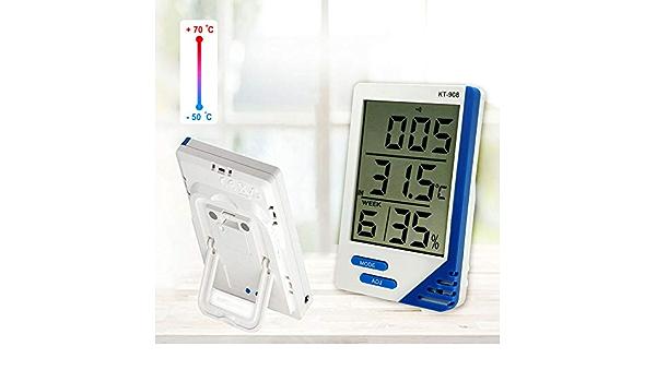 Enticerowts Kt908 Temperatur Und Luftfeuchtigkeitsmesser Für Innen Und Außenbereich Genaues Digitales Thermometer Hygrometer Temperatur Luftfeuchtigkeitsmesser Mit Außensensor Kabel 1 Küche Haushalt