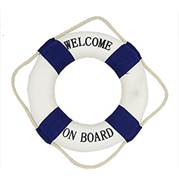 Maritime Deko Rettungsring Willkommen an Bord blau/weiss- Fischernetzdekoration - Meeresdekoration - maritime Dekoration