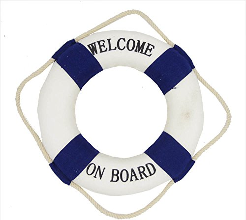 osters muschel-sammler-shop Maritime Deko Rettungsring Willkommen an Bord blau/weiss- Fischernetzdekoration - Meeresdekoration - maritime Dekoration (Rettungsring Bord An Willkommen)