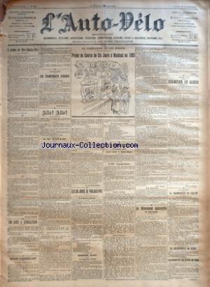 AUTO VELO (L') [No 461] du 18/01/1902 - A PROPOS DE NICE-ABBAZIA-NICE PAR GEORGES PRADE - UN DEFI A SENSATION PAR L.P. - MORIN COMMERCANT - PATINAGE - LES CHAMPIONNAT D'EUROPE PAR PAUL DELAMARRE - ALLO ! ALLO ! - A M. BALLIF - LE TELEPHONISTE - LA CARICATURE ET LES SPORTS - PROJET DE COURSE DE SIX JOURS A MADISON EN 1920 - LES SIX JOURS DE PHILADELPHIE - LA QUATRIEME JOURNEE - DERNIERE HEURE - CINQUIEME JOURNEE - TRENTE-HUITIEME HEURE PAR H. RAY - LES +¼TOUT-PETITS+« - 19 JANVIE