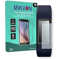 MIKVON 2x Clear Película protección de pantalla para Garmin vivosmart HR+ Protector de Pantalla - Embalaje y accesorios (Intencionadamente es más pequeña que la pantalla ya que esta es curva)