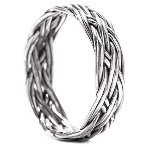 Windalf Viking Ring LOREDANE h: 0.5 cm Pagan Flechtmuster Antik Hochwertiges Silber (Silber, 56 (17.8))