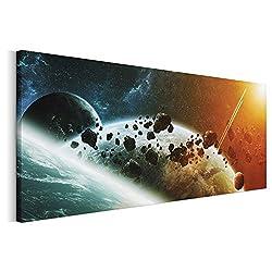 Revolio - Panorama Bilder - Leinwandbild - Wandbilder - Kunstdruck - Design - Leinwandbilder auf Keilrahmen 1 Teilig - Wanddekoration - Größe: 150 x 60 cm - Kosmos Meteoriten braun
