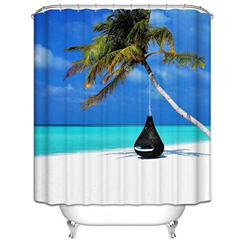 Abellale Polyester Duschvorhänge Kokosnussbaum Sofa Design Duschvorhang Bunt Badvorhang 180x200CM