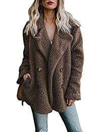 Aleumdr Womens Fashion Fleece Open Front Coat with Pockets Outerwear