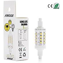 ANGGE 4W regulable R7s 78MM 32 2835 bombilla LED blanco cálido 3000K 360 grados R7s LED de la lámpara halógena de 50W reemplazo [AC 220-240V, 360 grados de ángulo del haz] [Clasificación energética A +]