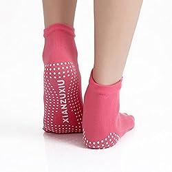 3 pares de invierno de las mujeres Anti-Slip Grip entrenamiento de yoga calcetines BigNoseDeer toe calcetines mezcla de color calcetines calcetines de algodón