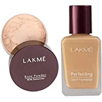 Lakmé Rose Face Powder, Soft Pink, 40g And Lakmé Perfecting Liquid Foundation, Pearl, 27ml